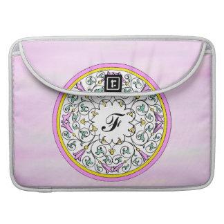 Vintage Pink Flower Victorian Scroll Pattern MacBook Pro Sleeve