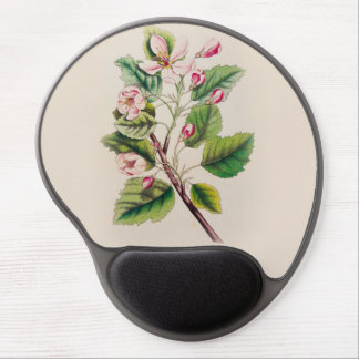 Vintage Pink Flowers Blooming, Beige Background Gel Mouse Pads
