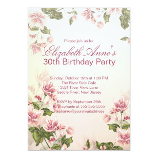 Vintage Pink Flowers Floral Birthday Party Card