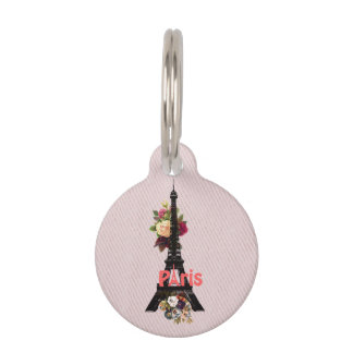 Vintage Pink Flowers French Paris Eiffel Tower Pet Name Tag