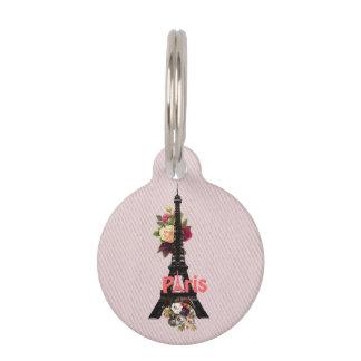 Vintage Pink Flowers French Paris Eiffel Tower Pet Name Tag