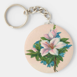 Vintage Pink Flowers, Grandmother Birthday Keychain