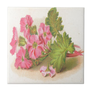 Vintage, Pink Flowers, Green Leaves, Small Square Tile