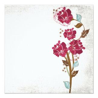 Vintage pink flowers Invitation