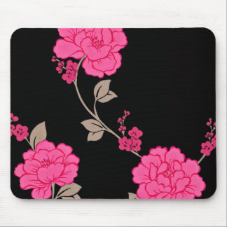 Vintage Pink Flowers Mouse Pad