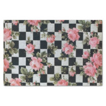 Vintage Pink Flowers on Black and White Tissue Paper