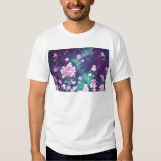 Vintage Pink Flowers on Purple-Green Background T Shirt