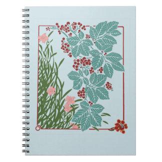 Vintage Pink Flowers Red Berries Blue Leaves Notebook