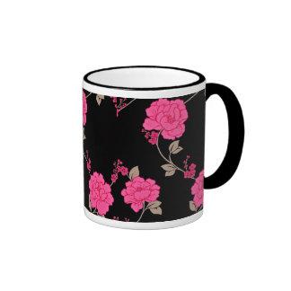 Vintage Pink Flowers Ringer Mug