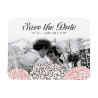 Vintage Pink Flowers Save the Date Flexible Magnet