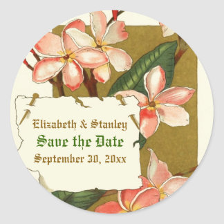 Vintage pink flowers wedding Save the Date sticker
