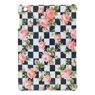 Vintage Pink Flowers with Squares iPad Mini Case