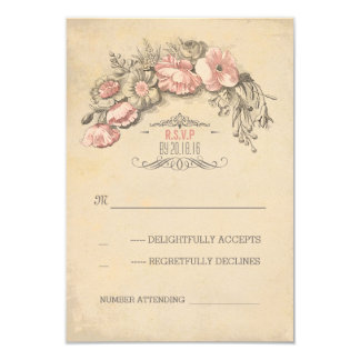 Vintage pink flowers wreath chic wedding RSVP Personalized Invites