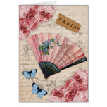 Vintage Pink French Fan Card
