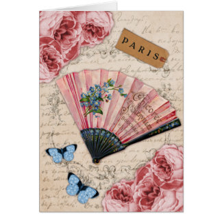 Vintage Pink French Fan Greeting Card
