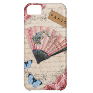 Vintage Pink French Fan Case For iPhone 5C