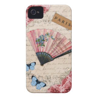 Vintage Pink French Fan iPhone 4 Covers