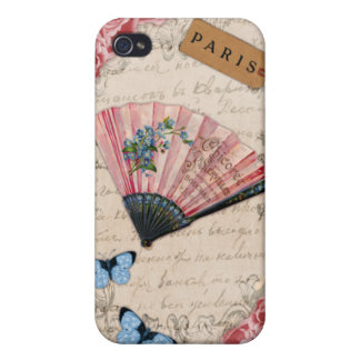 Vintage Pink French Fan iPhone 4/4S Covers