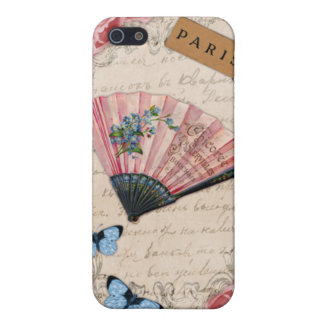 Vintage Pink French Fan Cases For iPhone 5