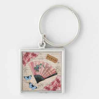 Vintage Pink French Fan Silver-Colored Square Keychain