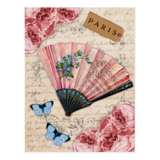 Vintage Pink French Fan Postcard