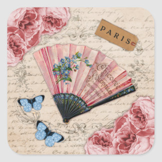 Vintage Pink French Fan Square Sticker