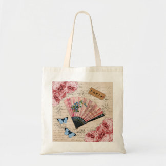 Vintage Pink French Fan Tote Bag