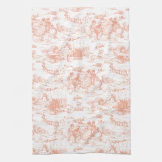 Merveilleux Vintage Pink French Toile Kitchen Towel