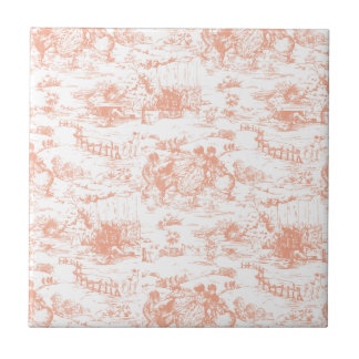 Vintage Pink French Toile Tile