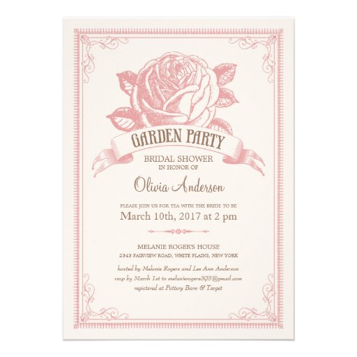 Vintage Pink Garden Party Shower Invitations
