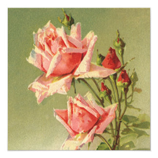 Vintage Pink Garden Roses for Valentine's Day Card