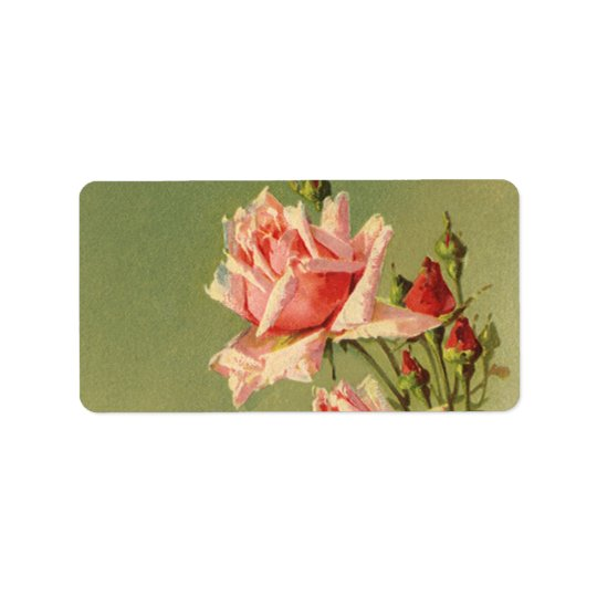 Vintage Pink Garden Roses for Valentine's Day Label