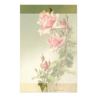 Vintage Pink Garden Roses for Valentine's Day Stationery