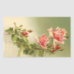 Vintage Pink Garden Roses for Valentine's Day Stickers