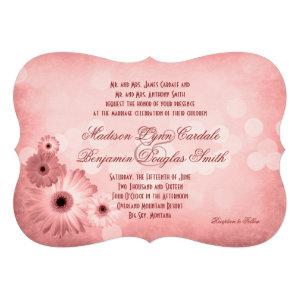 Vintage Pink Gerber Daisies Wedding Invitations