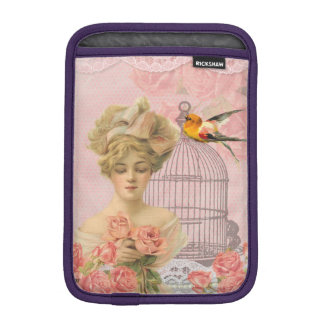 Vintage Pink Girl and Her Roses and Bird iPad Mini Sleeve