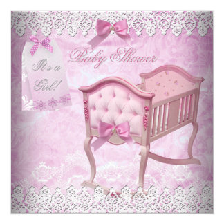 Vintage Pink Girl Baby Shower Lace Crib Card