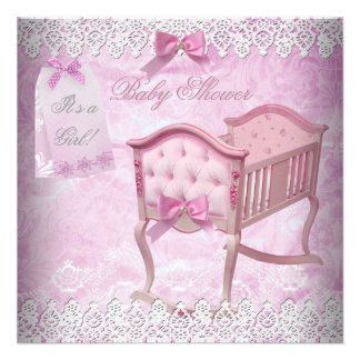Vintage Pink Girl Baby Shower Lace Crib Invites