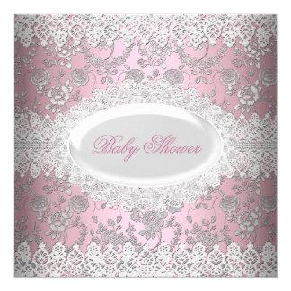 Vintage Pink Girl Baby Shower Lace Damask Card