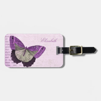 Vintage pink girly butterfly illustration name luggage tag
