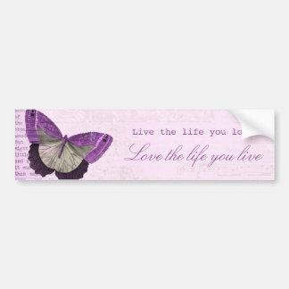 Vintage pink girly butterfly inspirational quote bumper sticker