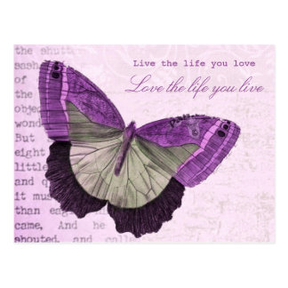 Vintage pink girly butterfly inspirational quote postcard