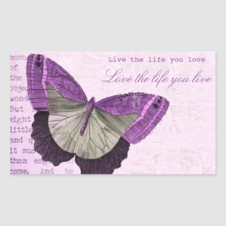Vintage pink girly butterfly inspirational quote rectangular sticker