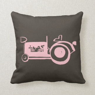 Vintage Pink Girly Tractor, Pink Farm Vehicle Throw Pillow