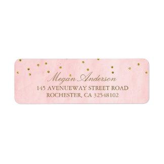 Vintage Pink Gold Confetti Wedding Label