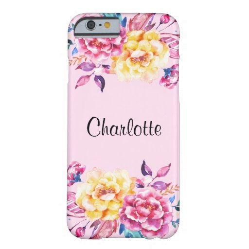 Vintage Pink Gold Floral Watercolor iPhone 6 Case