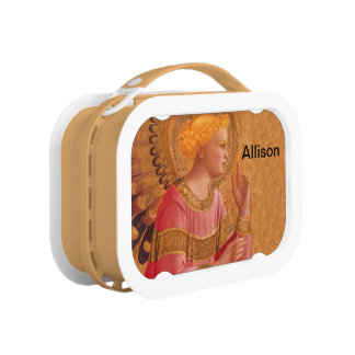 Vintage Pink Golden Christian Angel Lunch Box