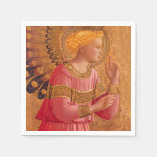 Vintage Pink Golden Christian Angel Napkin