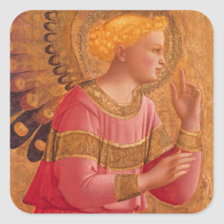 Vintage Pink Golden Christian Angel Square Stickers