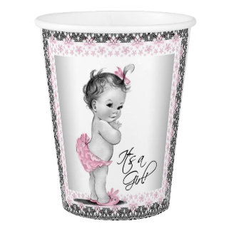 Vintage Pink Gray Baby Girl Shower Paper Cup